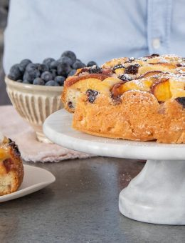 donal skehan clever chef peach and blueberry pound cake